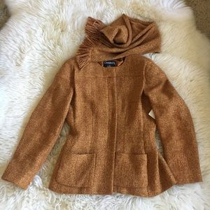 Chanel Golden Burnt Orange Wool Tweed Jacket 40 M